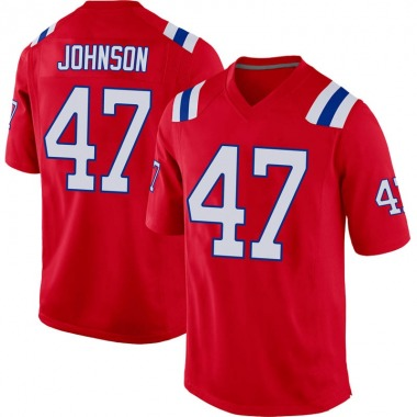 Men's Nike New England Patriots Jakob Johnson Alternate Jersey - Red Game