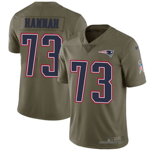 Men's Nike New England Patriots John Hannah 2017 Salute to Service Jersey - Olive Limited