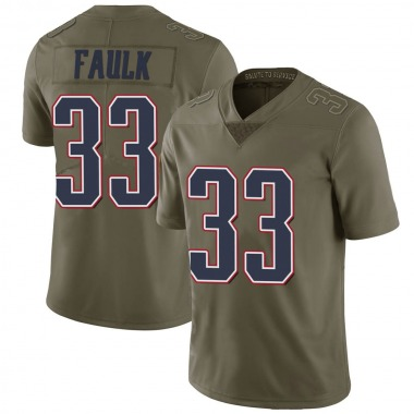 Men's Nike New England Patriots Kevin Faulk 2017 Salute to Service Jersey - Green Limited