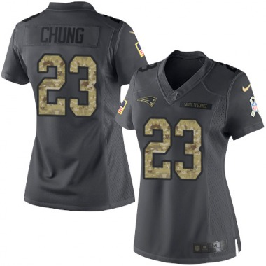 Women's Nike New England Patriots Patrick Chung 2016 Salute to Service Jersey - Black Limited